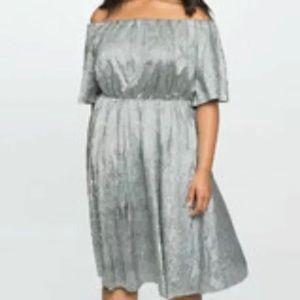 Eloquii Metallic Silver Lame' off shoulder dress